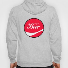 Enjoy Beer - Funny Vintage Cola Advertisement Parody Spoof - Red Round Reto Logo Hoody