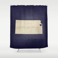 kansas Shower Curtains featuring Kansas City, Kansas Love Map Art by Fercute