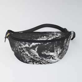 velociraptor dinosaur close up wsbw Fanny Pack