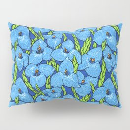 Blue Puya Flowers Botanical Floral Pattern Pillow Sham
