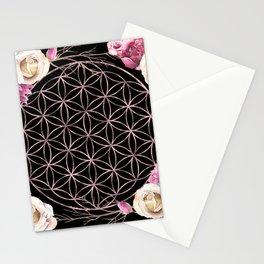 Flower of Life Rose Gold Garden on Black Stationery Cards
