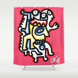 Life in Rose Street Outsider Art Pink Graffiti Shower Curtain