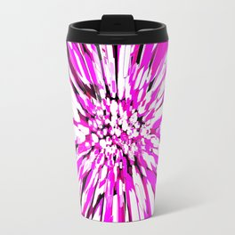 Zebras and Dahlias Pink and White Abstract Travel Mug