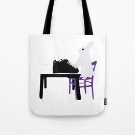 A Bunny's Life, animal gift, typing bunny, animal lover gift, bunny gift Tote Bag