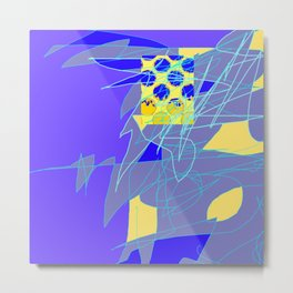 Yellow Square Hatchling  Blue-purple  Abstract Metal Print