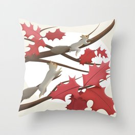 Autumn, squirrels and red leaves Throw Pillow