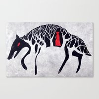 red riding hood Canvas Prints featuring L'il Red Riding Hood by Becca Thorne