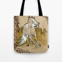 mucha Tote Bags featuring  Mucha Horse by emilyszalay