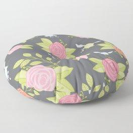 Garden of Fairies Pattern in Grey Floor Pillow
