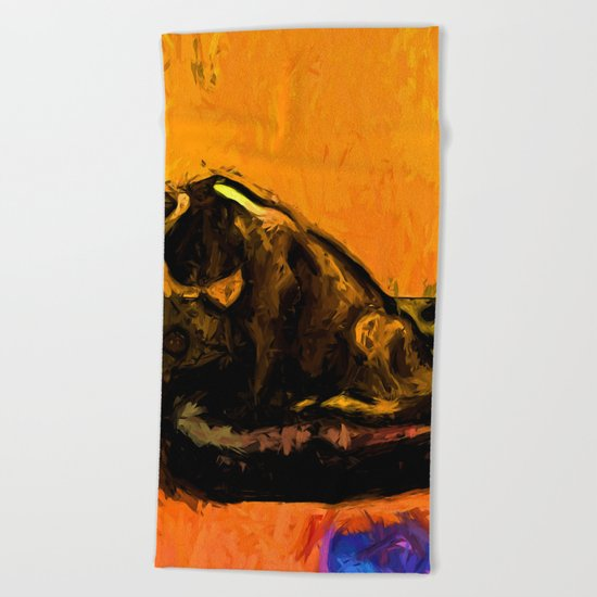 Cat and a Gold Wall Beach Towel