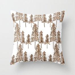 Pine Trees – Sepia Palette Throw Pillow