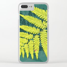 From the forest - lime green on teal Clear iPhone Case