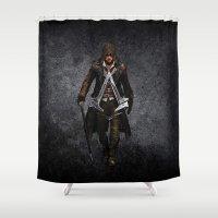 assassins creed Shower Curtains featuring assassins - assassins by alexa