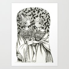 Orange sisters Art Print
