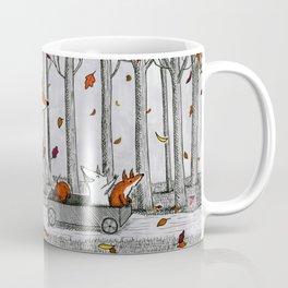 Fox Family Enjoying the Fall Leaves Coffee Mug