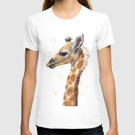 Giraffe Watercolor Cute Baby Animals T-shirt