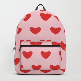 Red hearts pattern on pink background Backpack