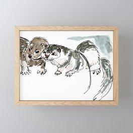 Two American minks Framed Mini Art Print