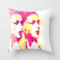 faces Throw Pillows featuring Faces by Paola Rassu