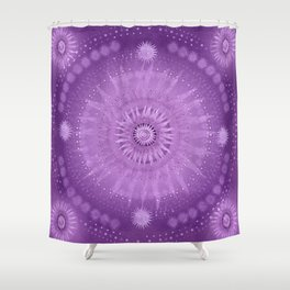 """Purple & Mallow Vault Mandala"" (Silver stars) Shower Curtain"