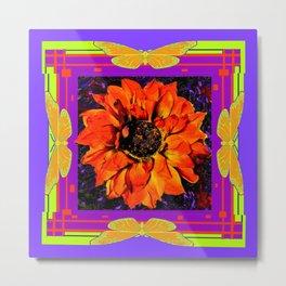 Orangey-Red Dahlia Butterly Lilac Pattern Metal Print