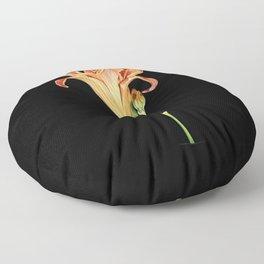 Orange Daylily Illustration Floor Pillow