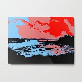 Railway bridge Haparanda/Tornio color Metal Print