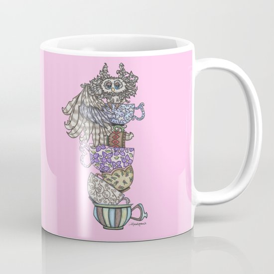 Owlice Wants Another Cup of Tea Pink Mug