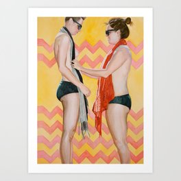 Liv and Beck in Yellow and Salmon Art Print