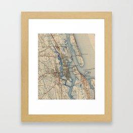 Vintage Map of St. Augustine Florida (1937) Framed Art Print