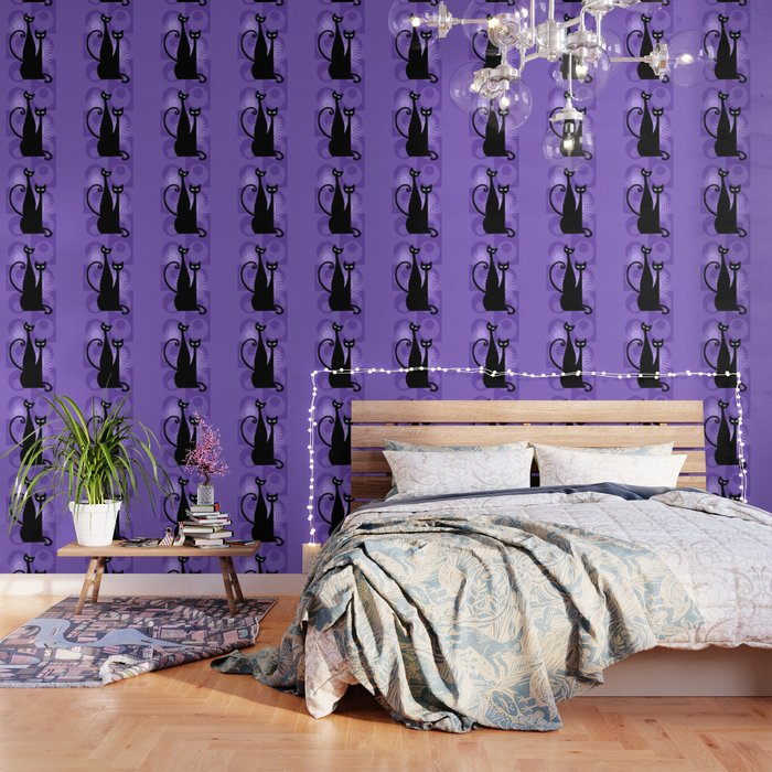 Purple Paradise Atomic Age Black Kitschy Cats Wallpaper