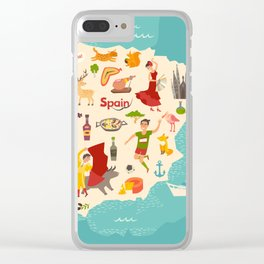 Spain map vector. Illustrated map of Spain for children Clear iPhone Case