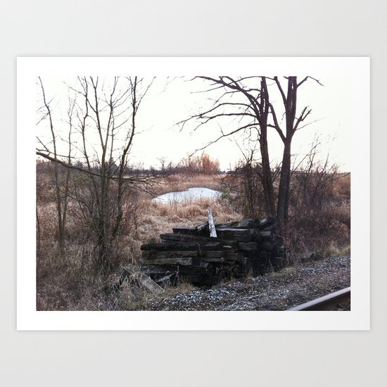 Old train track boards  Art Print