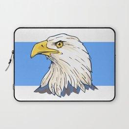 American Bald Eagle Portrait Bird Art With Blue Laptop Sleeve