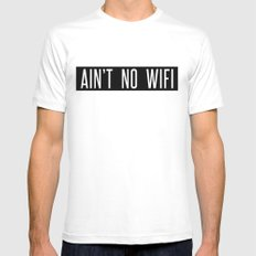 Ain't No Wifi MEDIUM White Mens Fitted Tee