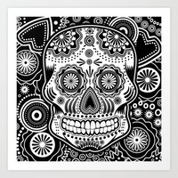 sugar skull Art Prints featuring sugar skull by Ancello