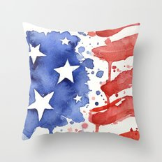 American Flag Watercolor Abstract Stars and Stripes Throw Pillow