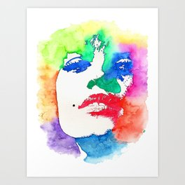 Stencil Watercolor Portrait | Stencil Portrait Watercolor Art Art Print