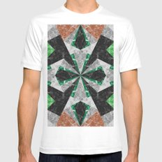 Marble Geometric Background G439 MEDIUM Mens Fitted Tee White