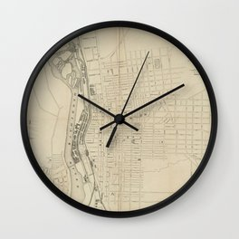 Vintage Map of Manchester NH (1872) Wall Clock