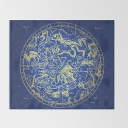 Yellow on Blue Infinity Vintage Astrology Star Map Throw Blanket