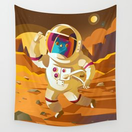 astronaut floating jumping on mars surface Wall Tapestry