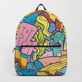 Doodle Kawai Funny Monster Pattern Motive Backpack