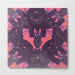 Bat Damask Metal Print