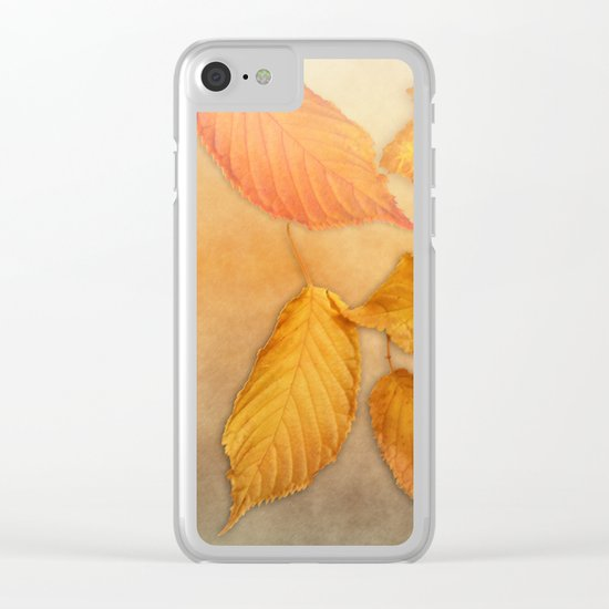 Autumn leaves in yellow and orange Clear iPhone Case