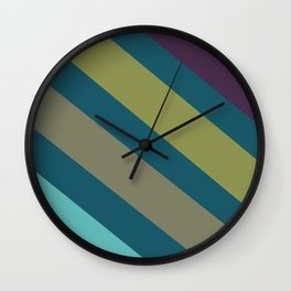 Teal and Stripes Decorative Pattern Wall Clock