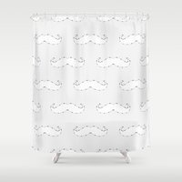 moustache Shower Curtains featuring Moustache by Little Owl Oddities