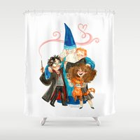 harry potter Shower Curtains featuring Harry Potter Hug by Super Group Hugs