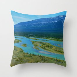 Looking over the Athabasca River on the east end of Jasper National Park, Canada Throw Pillow