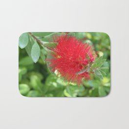 Beautiful Bottle Brush Flower With Garden Background Bath Mat